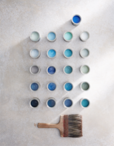 Blue paint pallet interior design edinburgh