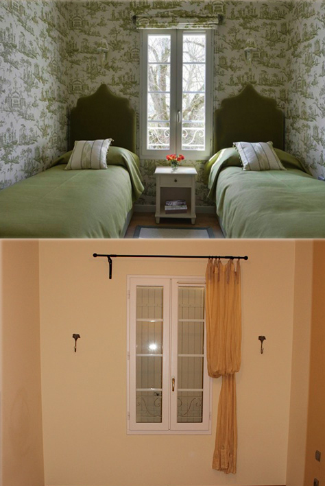 French toile bedroom before and after